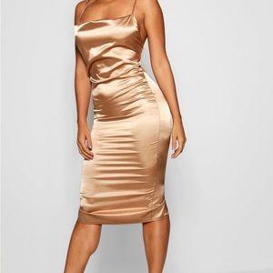 Cowl front satin mini dress